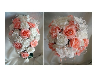 Wedding Flowers Peach & White wedding bouquets with butterflies, Brides, Bridesmaids, Flowergirls etc
