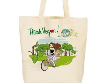 Tote bag - purse races - organic cotton - illustration vegan