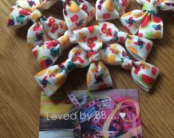 Summer holiday  ribbon hair bow clips