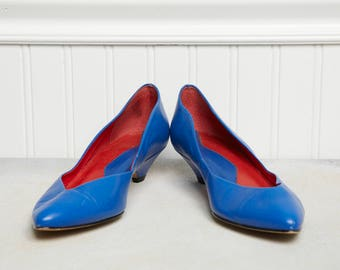 Vintage Women's Shoes - Size 6.5 - 9 West Royal Blue Women's Show - Made in Brazil - Retro 80s Fashion