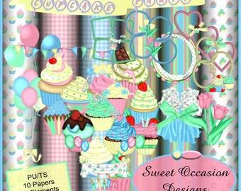 Cupcake Party, Scrap book, Scrapbooking Kit