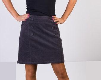 Grey skirt, Corduroy skirt, 90s Vintage skirt, Mini skirt, Normal waist skirt,Elastic skirt, Pencil skirt,Size 14 UK
