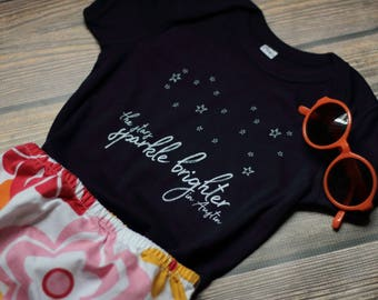Austin, Texas Infant Toddler One-Piece Bodysuit Creeper T-Shirt The Stars Sparkle Brighter Navy TX Professionally Screen Printed Local Pride