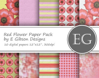 Red Flower Digital Paper Pack