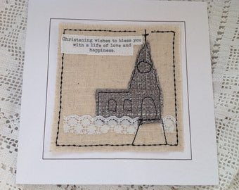 Handmade Christening card. baptism card can be personalised with child's name and date of christeningtt