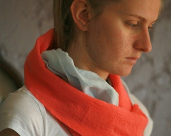 Linen scarf, hand dyed washed linen, various color, summer scarf