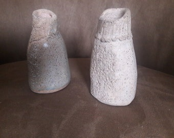 Pair of vintage abstract hand made vases