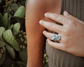 mallow silver ring with jade and aventurine