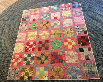 Handmade Antique scrapy 9 patch quilt