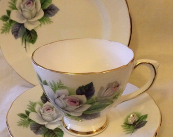 Vintage White Roses Royal Sutherland Vintage Tea Cup Trio Cup/saucer/ tea plate c.1960
