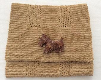 Vintage crochet Scottie purse