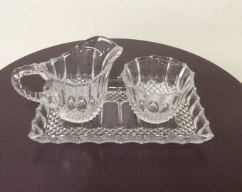3-Piece Knobby Glass/Crystal Cream and Sugar Set