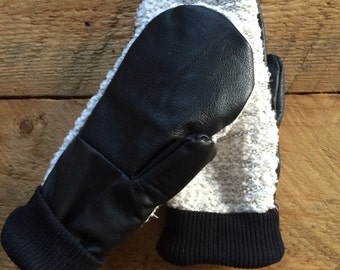 Women's Small Knit Mittens with Leather Palm