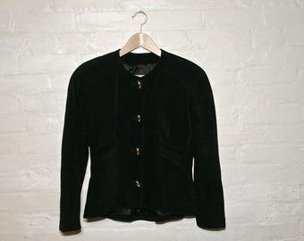 Danier Suede Leather Black Jacket Blazer Gold Buttons Tailored Waist