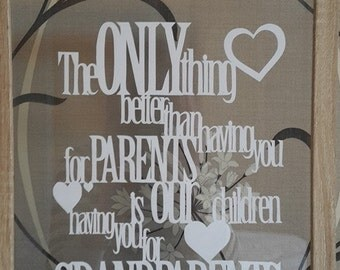 Grandparents. Gift. Papercut picture. Framed. Hand Cut. Present. Gift. Grandparents Day. Christmas. Anniversary. Handmade. Parents. Quote.
