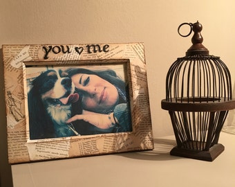 "FRAME ""YOU and ME"" with old books"