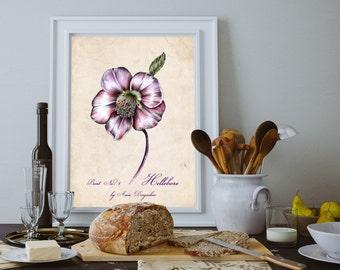 Botanical print, Flower art, Art print, Wall art, Flower wall art, Romantic flower, Romantic flower, Vintage decor, Romantic vintage, Flower