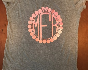 Pearls and Bow Monogram T-Shirt