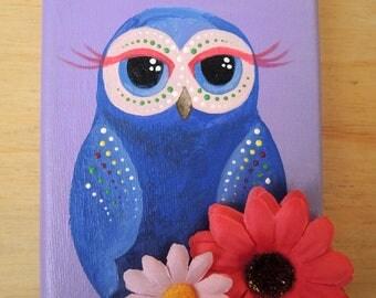 Purple owl art, owl painting, owl canvas, owl decor, owl art kids, owl nursery art, children bedroom wall art, wall decor, girls room art