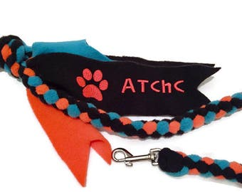 Personalized agility braided tug leash custom embroidered fleece clip pet lead