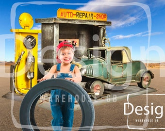 Vintage Auto Repair Shop Photography Digital Prop  Outback Desert Mechanic Digital Background Boy Toddler Photography Car repair Backdrop