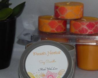 Peach Nectar Soy Wax Tea Lights
