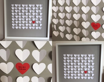 Keepsake, Unique and Personalised Wedding Guest Book. 81 Individual Hearts. Bride & Groom Name and Date