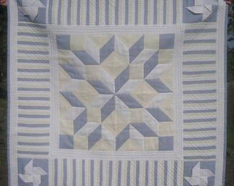 "Patchwork quilt linen cloth homemade quilt  eco friendly  46"" square"