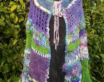 """Vest, jacket original """"Butterflies"""" hand spun wool."""