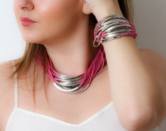 Pink Cord And Silver Multi Strand Necklace