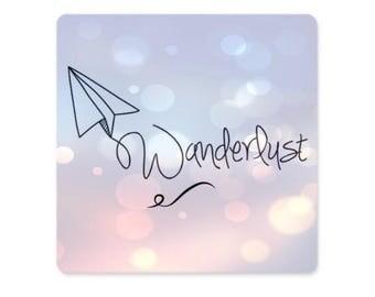 "Refrigerator Magnet - Wanderlust, paper airplane 3""x3"", magnet greeting card"
