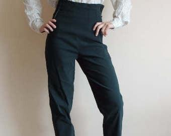FREE SHIPPING - Vintage Deep Green high waist stretchy pants with buttons/zipper and side lines, size 3, Made in France