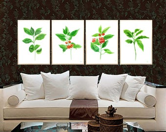 Coffee Leaves watercolor print Coffee Plant print Coffee plant painting Coffee beans plant Tropic Leaf Coffee home decor Coffee leaves decor
