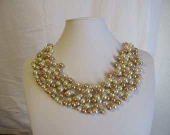 Pearl Cluster Necklace- Champagne and Ivory