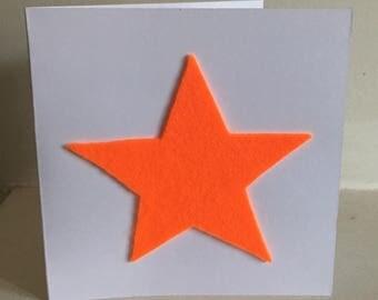 Neon Orange Star Greetings Card