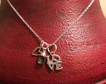 L.O.V.E. Sterling silver charms with a wire wrapped Moss Aquamarine Gemstone
