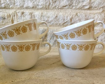 vintage butterfly gold pyrex corelle livingware by corning coffee cups - set of 4