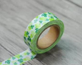 Green Leaves Japanese Washi Tape. Scrapbook and Stationery Tape. Pretty Tape.