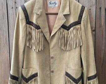 Vintage skully fringe jacket