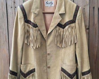 Vintage skully fringe jacket