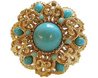 Brooch VINTAGE SPHINX - Neo Classic Round Turquoise color