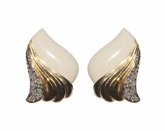 Earrings ear Clips VINTAGE DL ten of London - Beige range