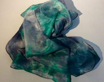 Green Silk Hand painted scarf Batik