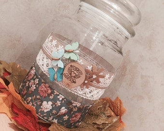 Shabby chic storage jar