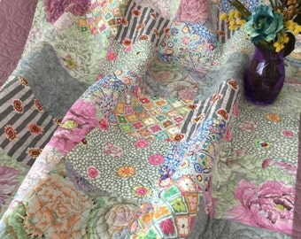 Floral Quilt, Handmade Quilt, Pink, Lavender, Gray, Yellow Quilt