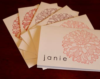 Set of 6 hand stamped note cards, PERSONALIZED name, stampin' up, flower print, pink, red, purple, ready for gift-giving