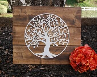 Tree of Life Metal Art, Tree of Life on Rustic Wood