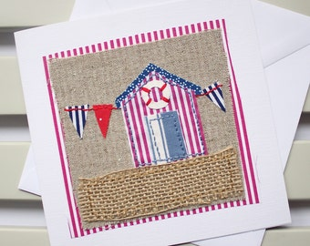 Blank Card - Handmade - Fabric Collage - Hand Sewn - Red Beach Hut