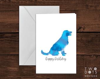 4x6 Printable Greeting Card - Birthday Card, Watercolour Dog Birthday Card, Dog Card