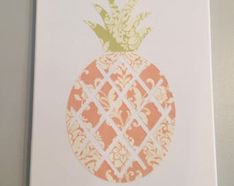 Pineapple Design from Damask Fabric, Wall Decor or Mantle Decor, Wrapped Canvas